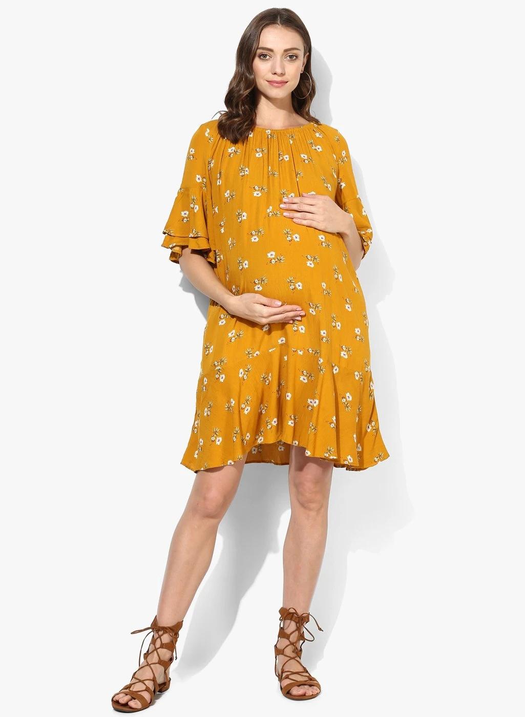 Maternity Dress Mustard Floral Print