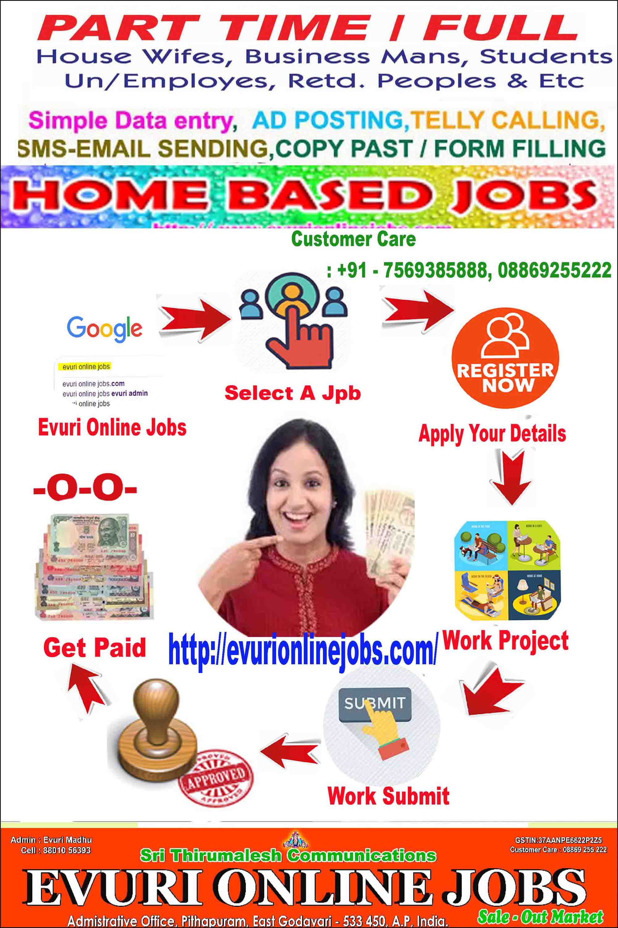 Online Jobs,Part time Jobs,Home Based Jobs for House wives, Retired  persons, College students and who need to earn extraPart Time Home Based Data Entry Typing Jobs