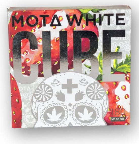 Mota Strawberry and Cream White Chocolate CBD Cube  $ 29.99