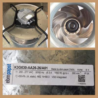 EBM PAPST FAN MODEL K3G630-AA26-26/A01