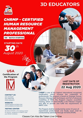 CHRMP-CERTIFIED HUMAN RESOURSE MANAGEMENT PROFESSIONAL
