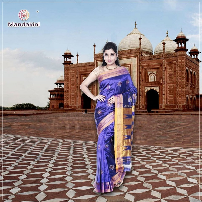 Pure Silk Ilkal Saree with Kasuti Embroidery in Violet - Mandakini