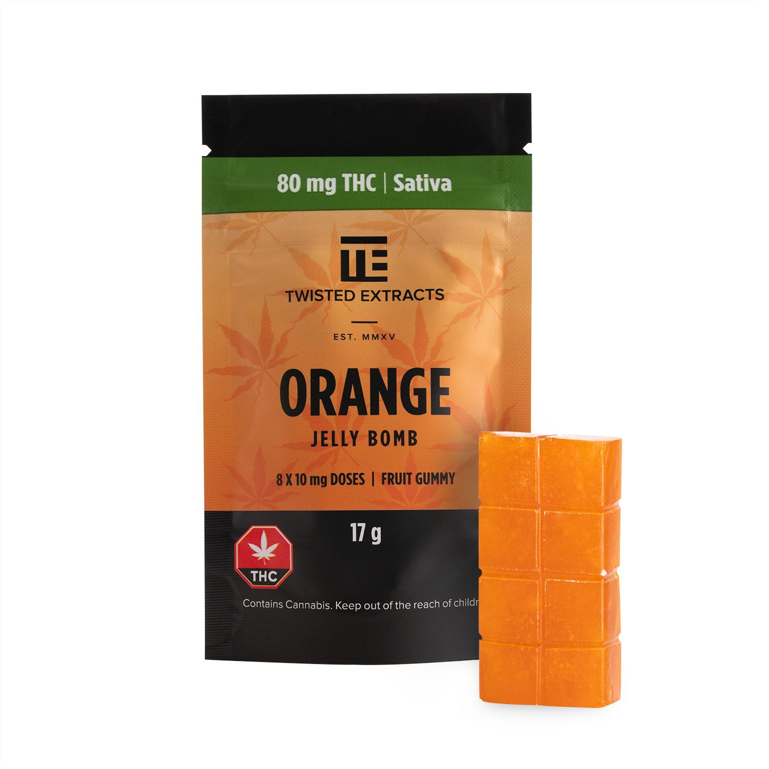 Twisted Extracts – Orange Jelly Bombs : 80mg THC (SATIVA)