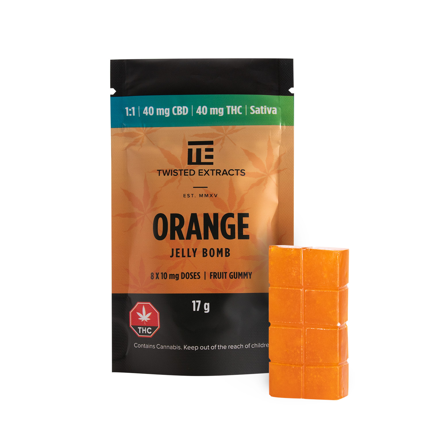 Twisted Extracts | Orange Jelly Bomb 1:1 | Sativa | 40mg CBD & 40mg THC