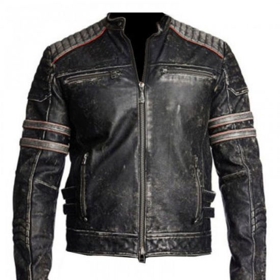 Vintage motorcycle distressed leather jacket