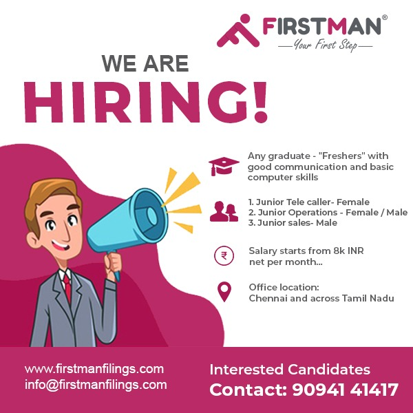 FIRSTMAN ONLINE FILINGS PRIVATE LIMITED - WE ARE HIRING JOB FOR FRESHERS