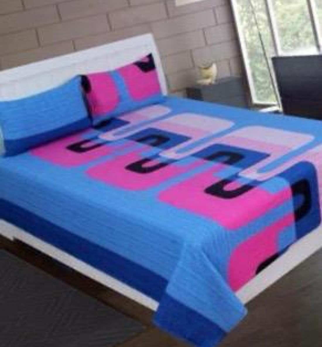 Buy Stylish Blue Color Pure Cotton Double Bedsheets (90 X 100) With 2 Pillow Covers
