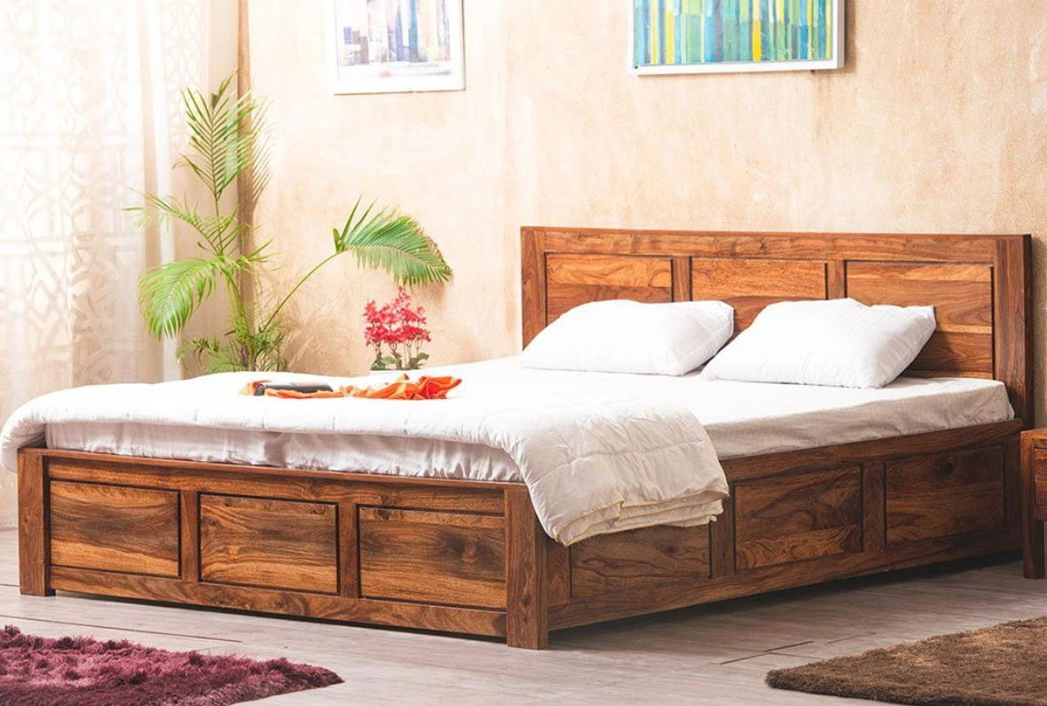 Saraf Furniture - Solid Wood Essential Bed with Storage