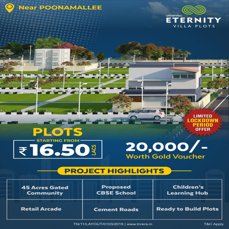 BUY PLOTS NEAR POONAMALLEE(CHENNAI) - 600SQFT- 16.50LAKHS